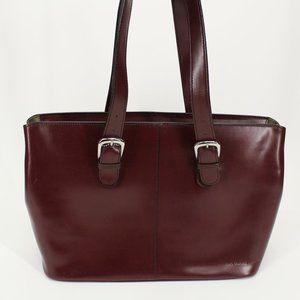 Jack Georges Burgundy Leather Briefcase Tote Bag